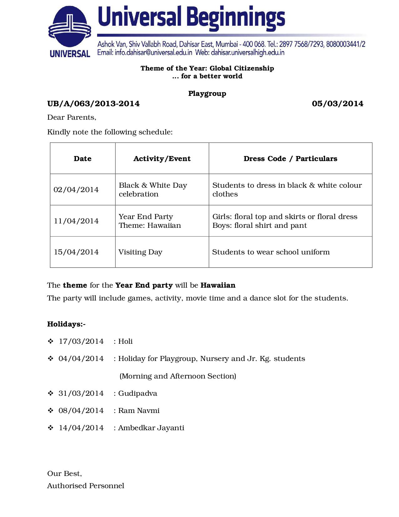 PLAYGROUP ACTIVITY SCHEDULE FOR THE MONTH OF MARCH AND APRIL- 2014