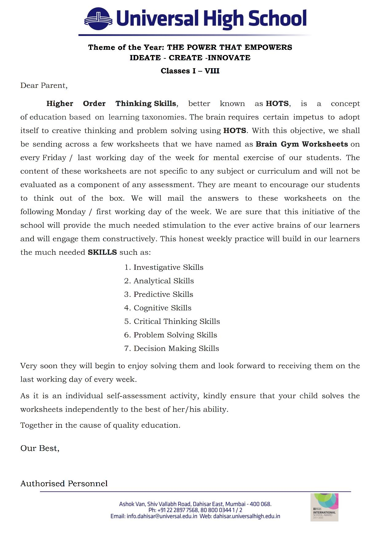 Worksheets For Gym Class : Classes i to viii brain gym worksheets universal high