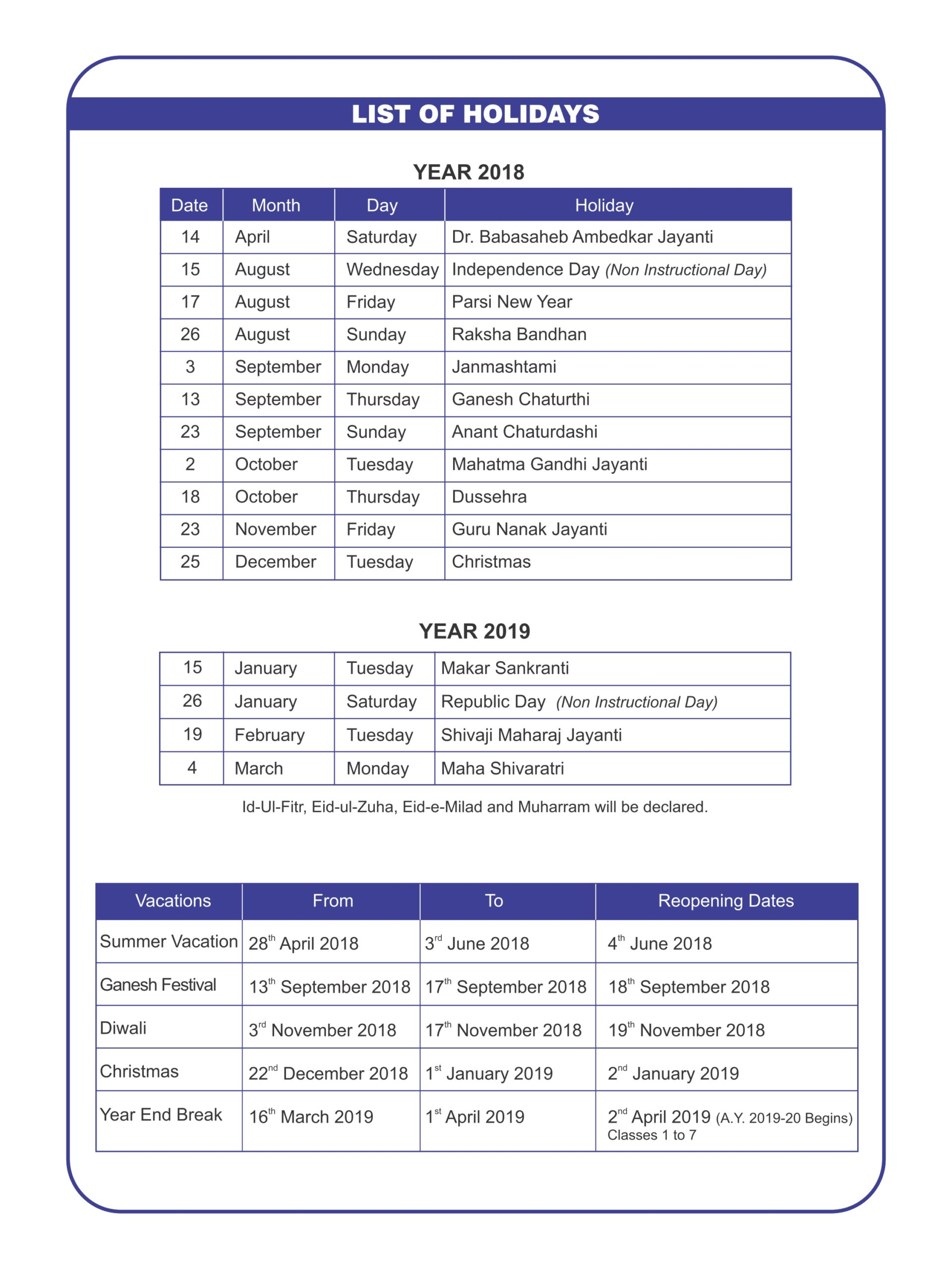 School Holidays In Mumbai Universal School Holiday List Dahisar