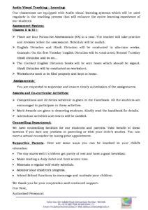 Class II and III – Important School Information