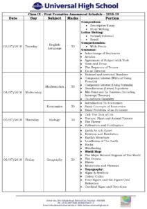 Class IX – First Formative Assessment Schedule – 2018-19