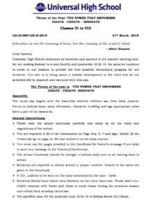 Classes VI to VIII – Important School Information