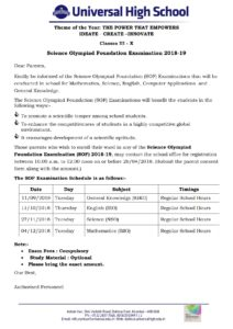 Classes III to X – Science Olympiad Foundation Examination 2018-19