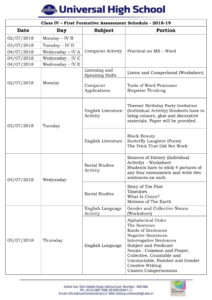 Class IV – First Formative Assessment Schedule – 2018-19