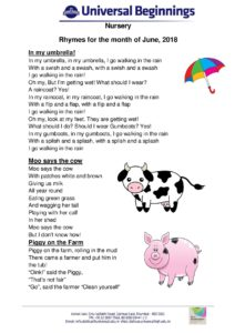 Nursery- Rhymes for the month of June , 2018