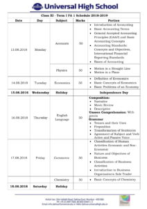 Class XI – First Formative Assessment Schedule – 2018-19