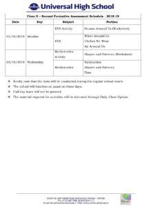 Class II – Second Formative Assessment Schedule – 2018-19