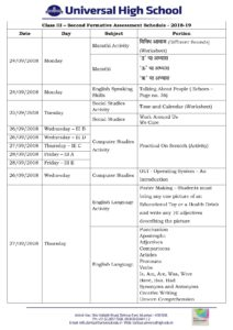 Class III – Second Formative Assessment Schedule – 2018-19
