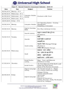 Class IV – Second Formative Assessment Schedule – 2018-19