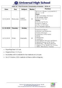 Class IX – First Semester Examination Schedule – 2018-19