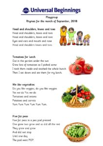 Playgroup – Rhymes for the month of September , 2018