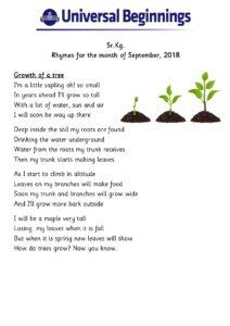 Sr.Kg. – Rhymes for the month of September , 2018