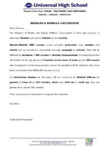 Class VI – Measles and Rubella Vaccination