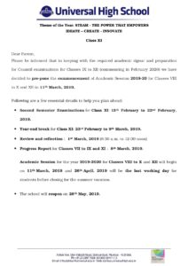 Class XI – Dates for Commencement of AY 2019-20