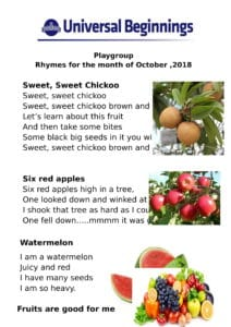 Playgroup – Rhymes for the month of October , 2018