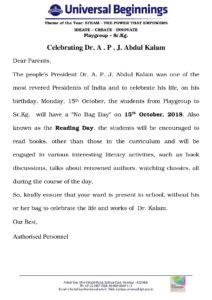 Revised Playgroup to Sr.Kg. – Celebrating Dr. A . P . J. Abdul Kalam