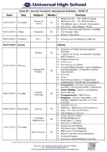 Class IX – Second Formative Assessment Schedule – 2018-19