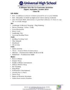 Class-III-A-Glimpse into the Co-Curricular-Activities-August,September,October-2019